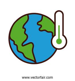 world planet earth with thermometer line and fill style