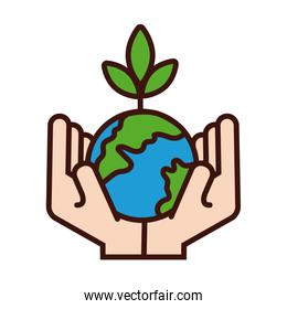 hands lifting world planet earth and plant line and fill style