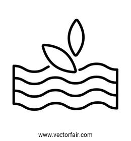 sea waves with leafs line style icon