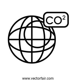 planet with co2 line style icon