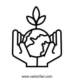 hands lifting world planet earth and plant line style