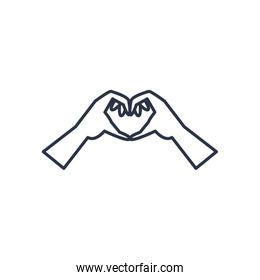 charity donations concept, hands making heart icon, line style