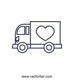 charity donations concept, donations truck with heart icon, line style