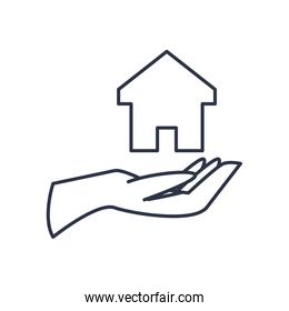 charity donations concept, hand and house icon, line style