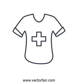 charity donations concept, tshirt with medical cross icon, line style