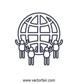 charity donations concept, global sphere with pictogram people around, line style