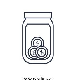 charity donations concept, moneybox bottle with coins icon, line style