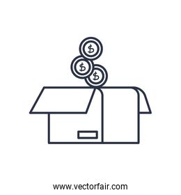 charity donations concept, money coins and box icon, line style