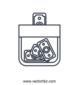 charity donations concept, moneybox bottle with money bills icon, line style