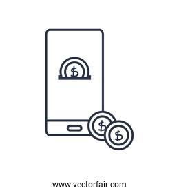 charity donations concept, smartphone with money coins design, line style