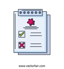 medical lab analysis form with results data on white background