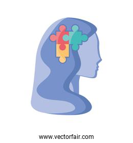 puzzle in human head on white background