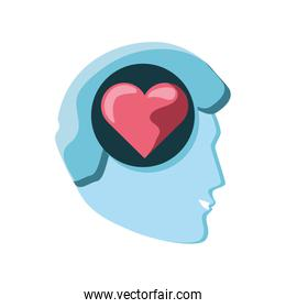 human head with heart isolated icon