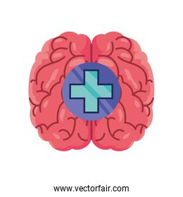 brain with health cross on white background