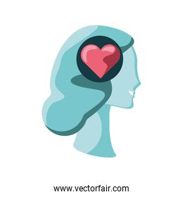 human head with heart on white background