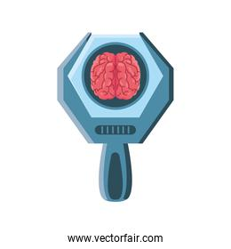brain with magnifying glass on white background