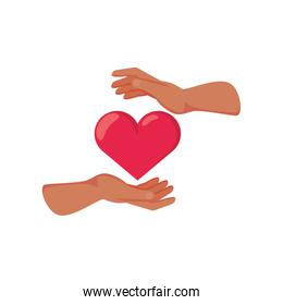 hand with heart on white background