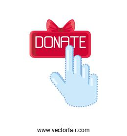 hand on donate button on white background