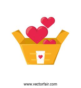 donation box with heart on white background