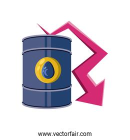 oil barrel with down arrow on white background