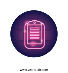 medical report icon, neon style