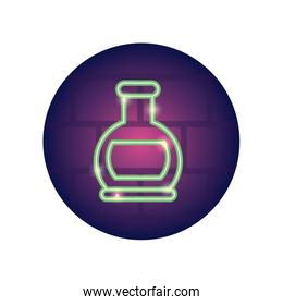 chemical flask icon, neon style