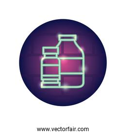 medication bottles icon, neon style