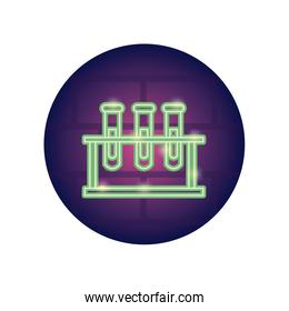 stand with test tubes icon, neon style