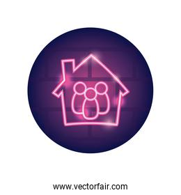 stay home concept, house with family inside icon, neon style