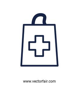 medical shopping bag icon, line style