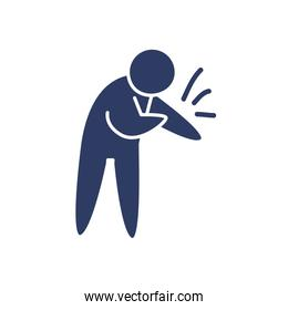 pictogram man with body pain icon, line style