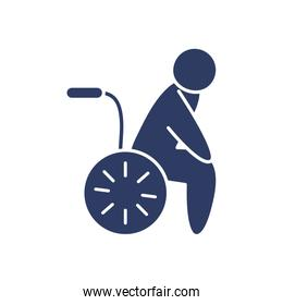 pictogram man in a wheelchair icon, line style