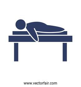 man lying on a stretcher, line style