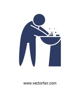 pictogram man washing his hands icon, line style