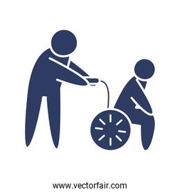 pictogram man pulling a man in a wheelchair icon, line style