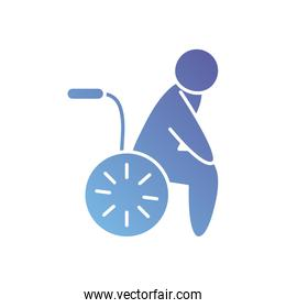 pictogram man in a wheelchair icon, gradient style