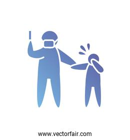 pictogram doctor with mouth mask and syringe and sick kid standing, gradient style
