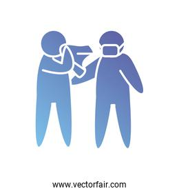 pictogram man blowing nose and other man with mouth mask icon, gradient style