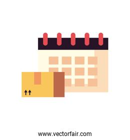 fast delivery concept, calendar and package box icon, flat style