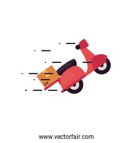 fast delivery concept, delivery motorcycle with a box icon, flat style