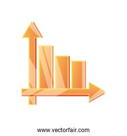 golden graphic bar chart icon, detailed style