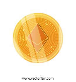 ethereum cryptocoin icon, detailed style