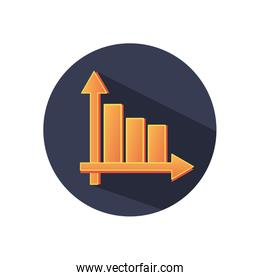 golden graphic bar chart icon, block detailed style