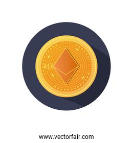 ethereum cryptocoin icon, block detailed style