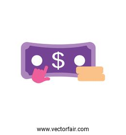 banking online concept, money bills and coins with cursor icon, flat style