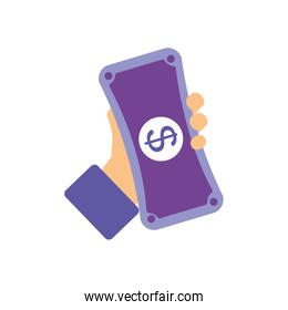 banking online concept, hand holding a device with money symbol, flat style