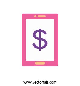 mobile banking concept, smartphone with money symbol icon, flat style