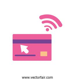 banking online concept, credit card with nfc sensor icon, flat style