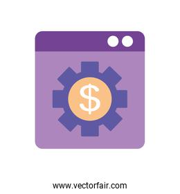 mobile banking concept, web page with gear with money symbol icon, flat style