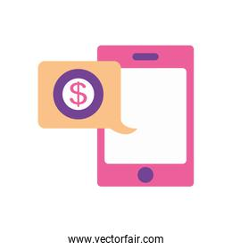 mobile banking concept, smartphone and speech bubble with money symbol, flat style